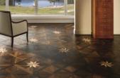 TEKA Wood Design raštuoti parketo skydai Royal Star termiškai apdorotas ąžuolas Golden su klevu ir merbau 14x390x390 mm