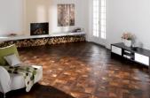 TEKA Wood Design raštuoti parketo skydai Grand Palais Old Style sendintas termiškai apdorotas ąžuolas, alyvuotas UV alyva, šiurkštintas 14x390x390 mm